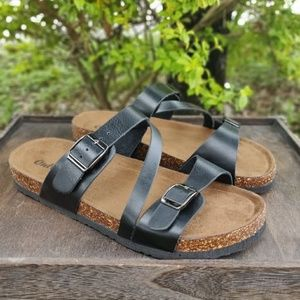 dc4fdbcc9d0c Outwoods · Womens Cork Strappy Buckle Slide Sandals Black